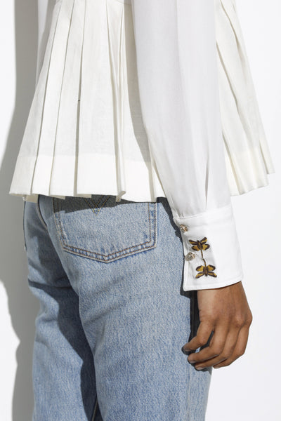 Dragonfly Embroidery Work Shirt - White