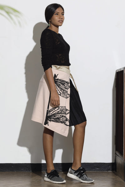 Dragonfly Printed Pleated Wrap Skirt - Pink