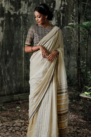 Urban Drape Mehran Gold Silk Mixed Saree