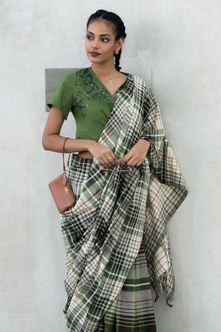Urban Drape Militant Checks Saree