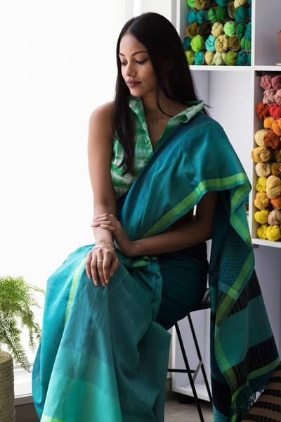 Urban Drape Moss Ray Saree - Fashion Market.LK
