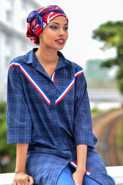 Nautical Shirt Dress with Twill Tape Detail