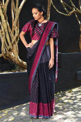 Urban Drape Grey Mask Batik Saree