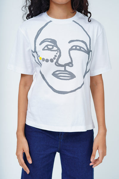 Tribal Face Crew Neck T-Shirt - White