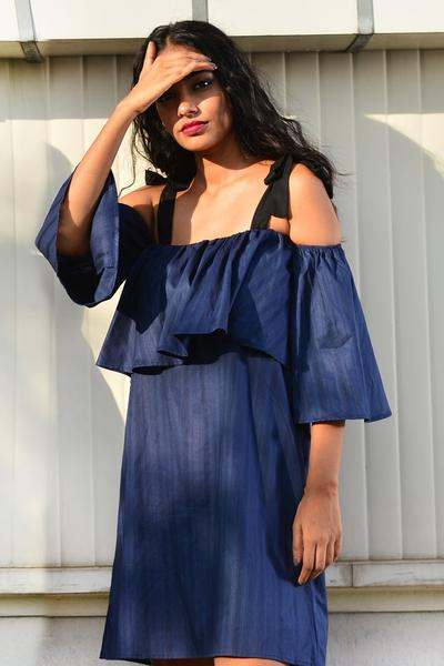 Off-Shoulder Dress -Blue