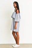 Off-Shoulder Dress -Stripe