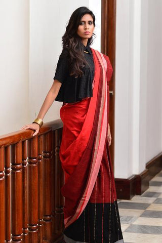 Urban Drape Orange Steel Saree