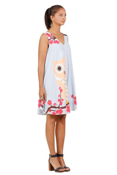 Owl and flower print flare sleeveless dress