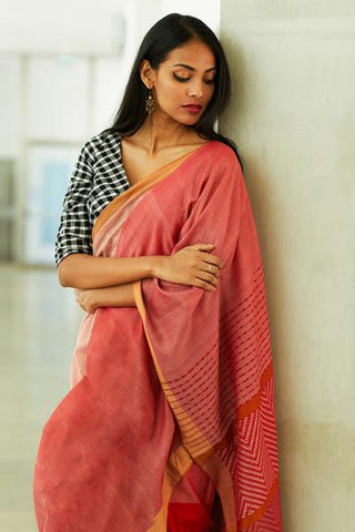 Urban Drape  Raspberry Rush Batik Silk Saree