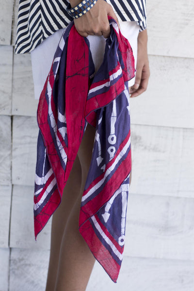 Nautical scarf- red, white and blue