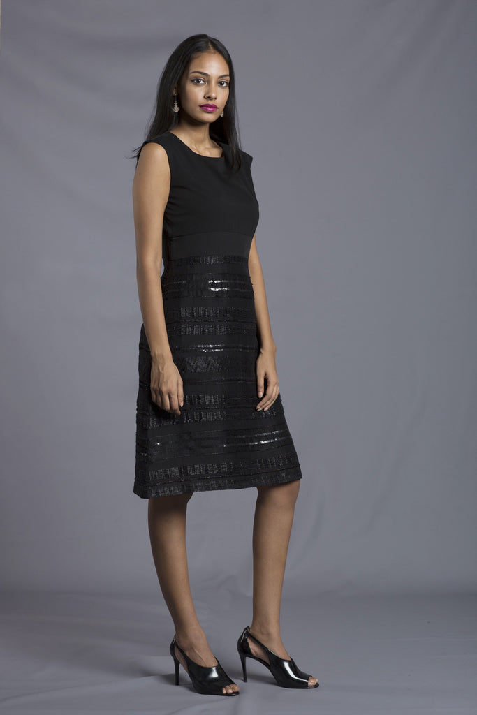 Dinner Dress with Intricate Handwoven Artisan Fabric
