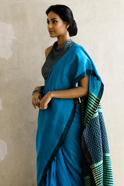 Urban Drape Sea Spray Punch Glam Handwoven Saree - Fashion Market.LK