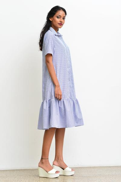 Shirt Dress with ruffle -Stripe