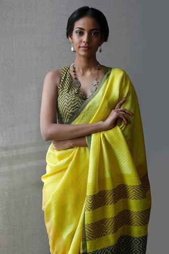 Urban Drape Sun Shadow Glam Handwoven Saree - Fashion Market.LK