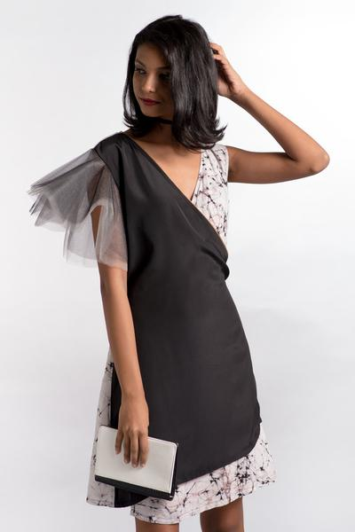 Tulle Sleeve Black Wrap Dress
