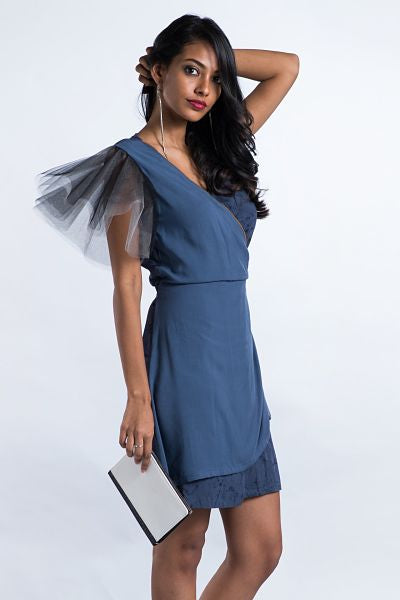 Tulle Sleeve Gray Wrap Dress