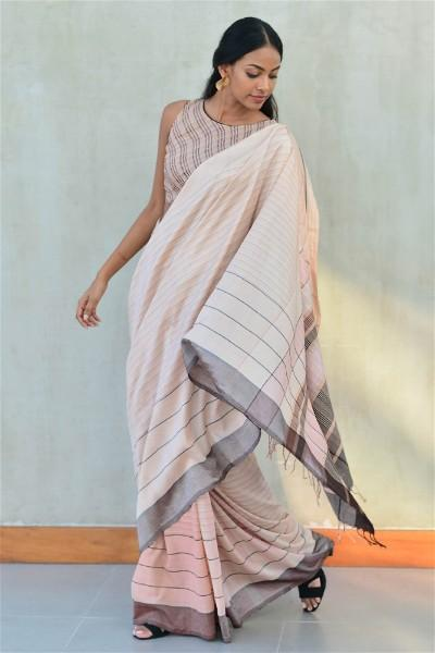 Urban Drape Coral Shades in Brown Rhythm Saree