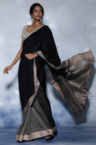Urban Drape Lux Shadow Black Saree