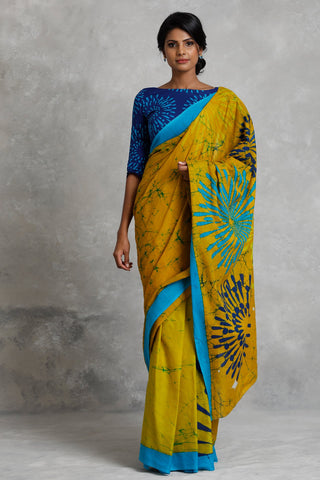 Urban Drape Yellow Fire Works Saree
