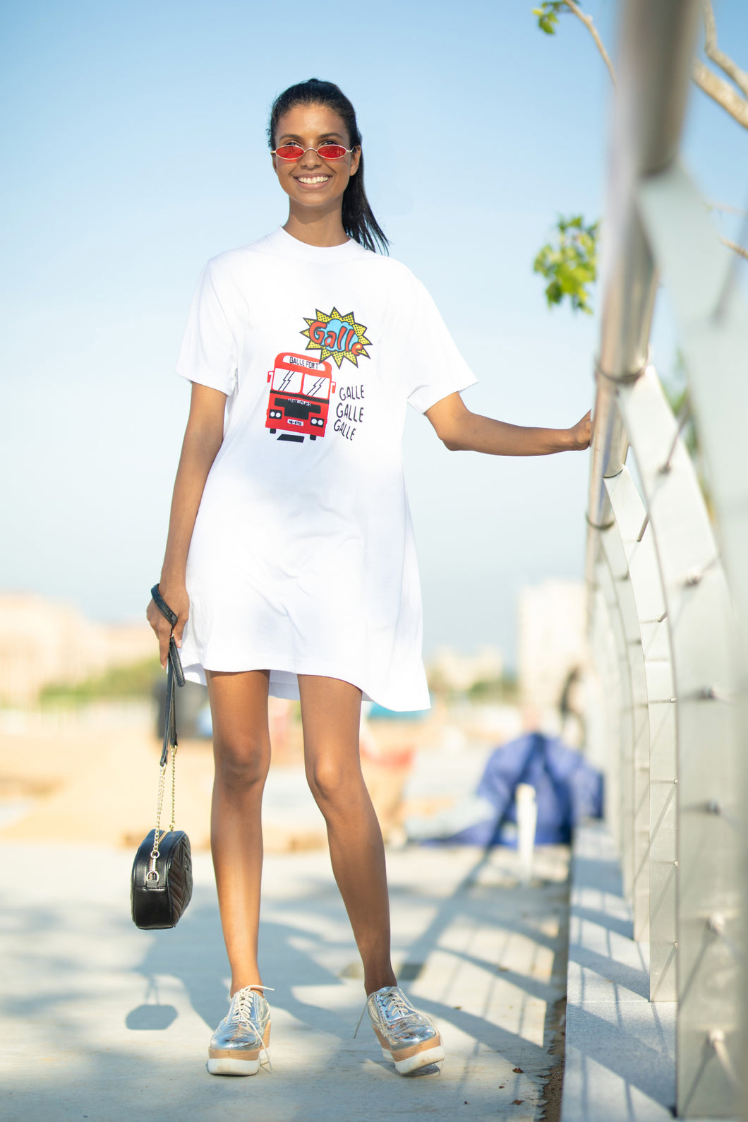 Retro Hipster White T-shirt Dress