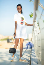 Load image into Gallery viewer, Retro Hipster White T-shirt Dress