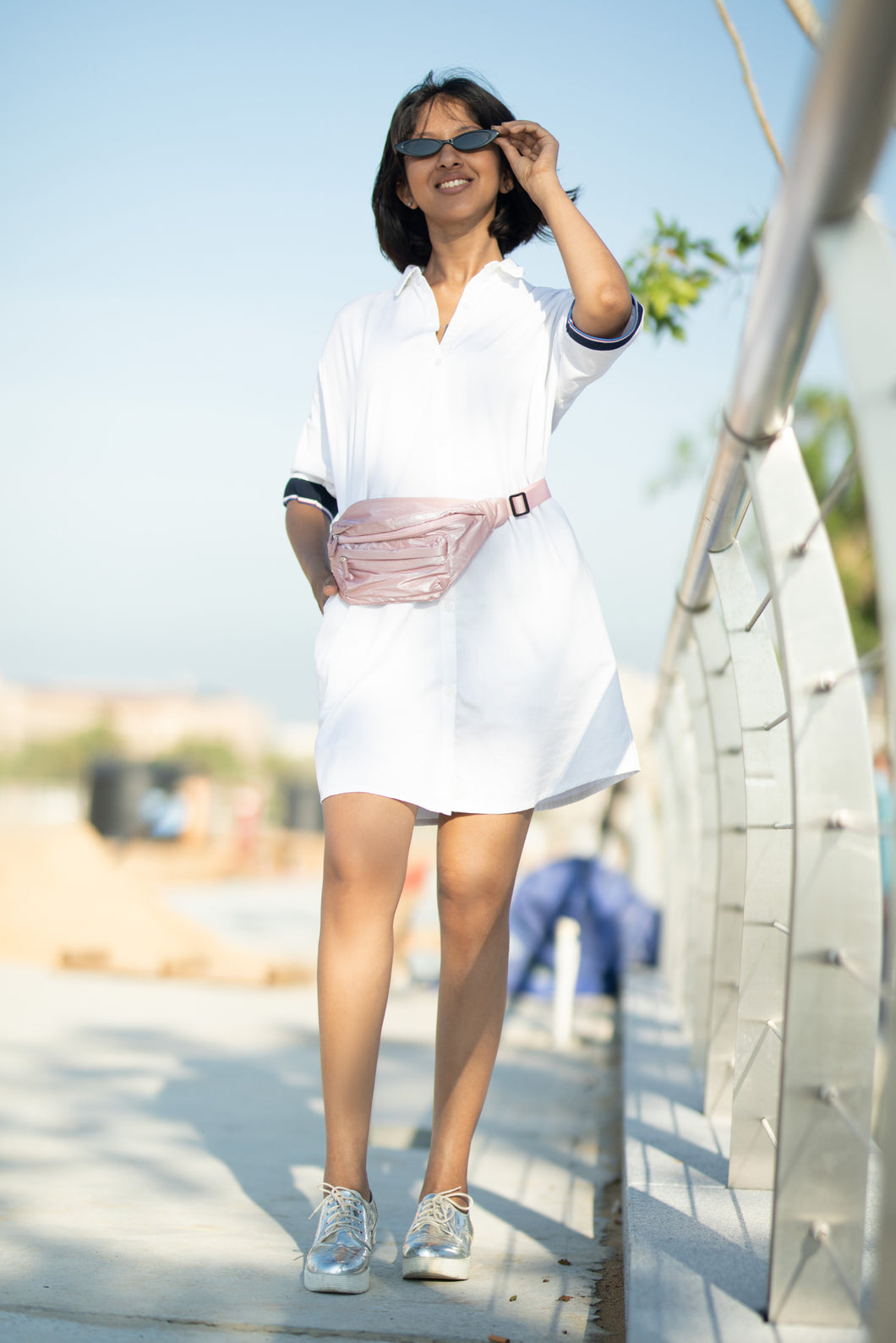 White Retro Shirt Dress
