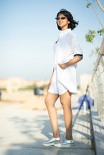 Load image into Gallery viewer, White Retro Shirt Dress
