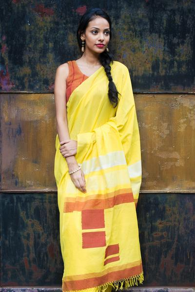 Urban Drape Yellow Space Saree - Fashion Market.LK
