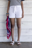 Linen Beach Shorts- white