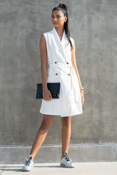 Girl Boss Blazer Dress (White)