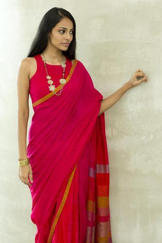Urban Drape Cranberry bride Saree