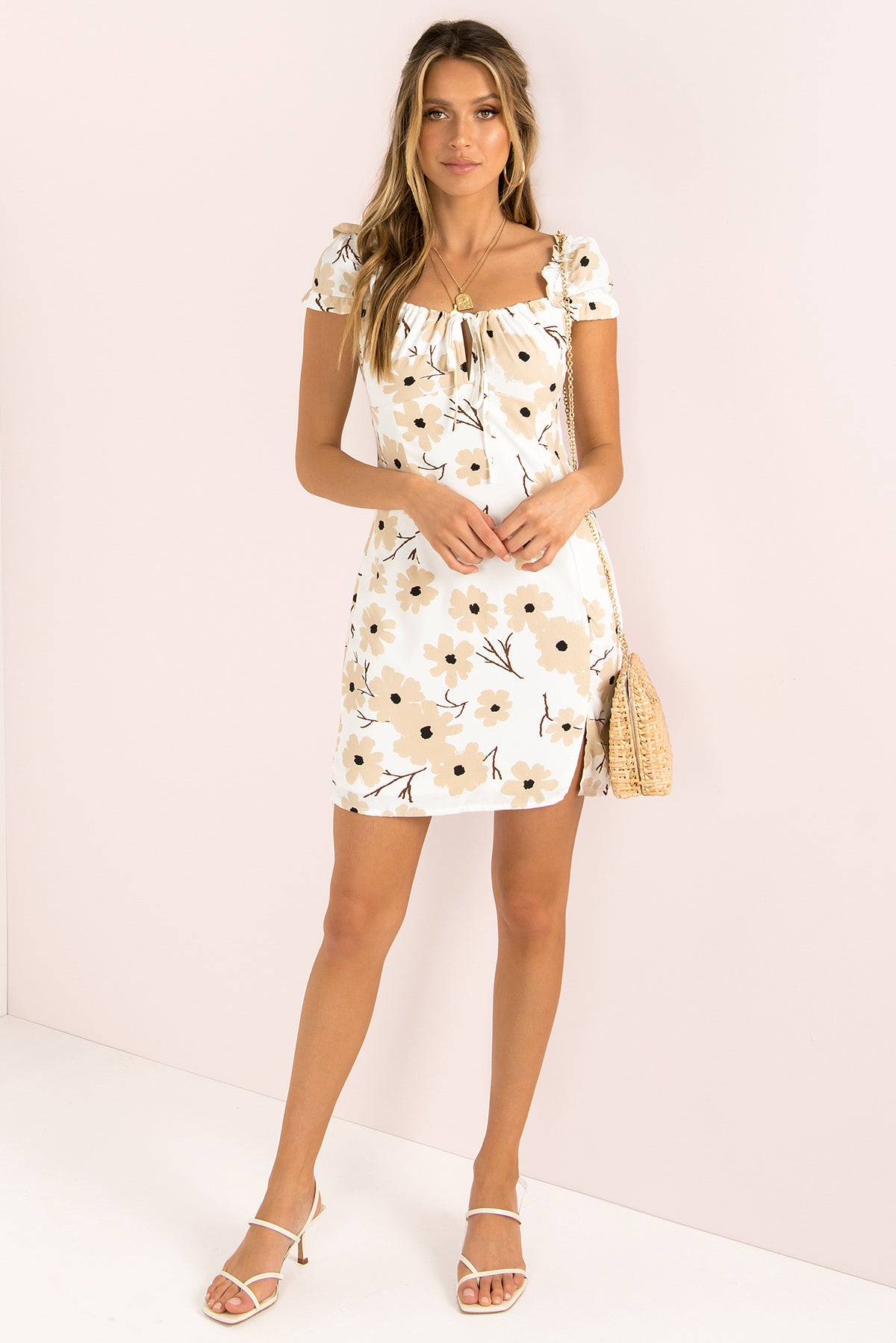 Audrey Dress / Beige Floral