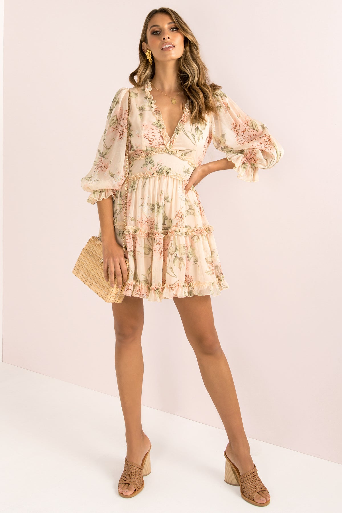 Aurora Dress / Beige Floral