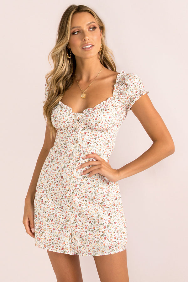 Yasmin Dress / White Floral