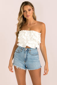 Ruffle Top / White