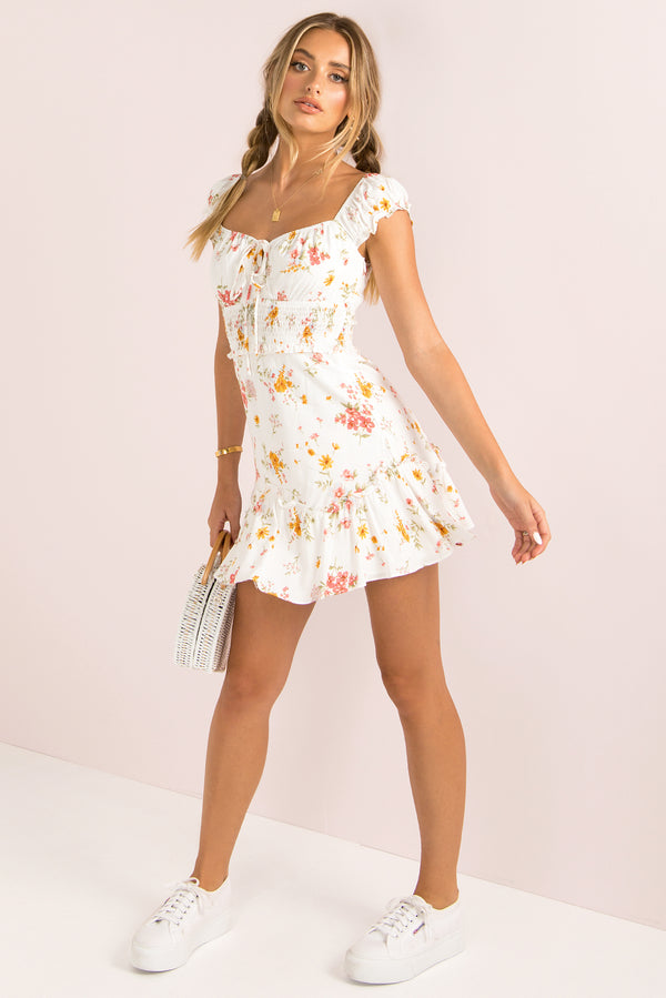 Simone Dress / White Floral