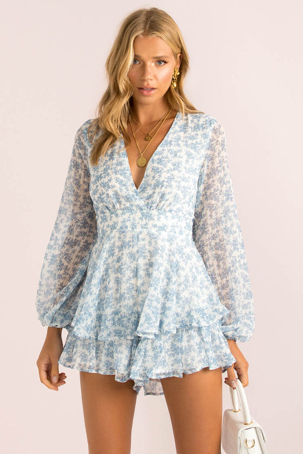 Giselle Playsuit / Blue Floral