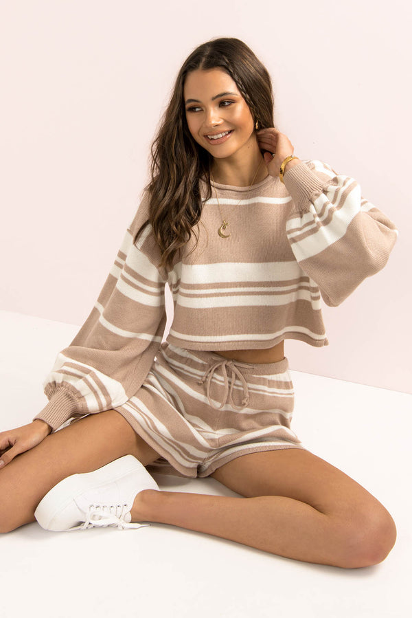 Mimi Top / Beige Stripe