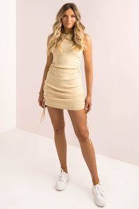 Military Minds Mini Dress / Beige