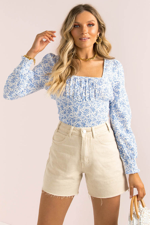 Amia Top / Blue Floral
