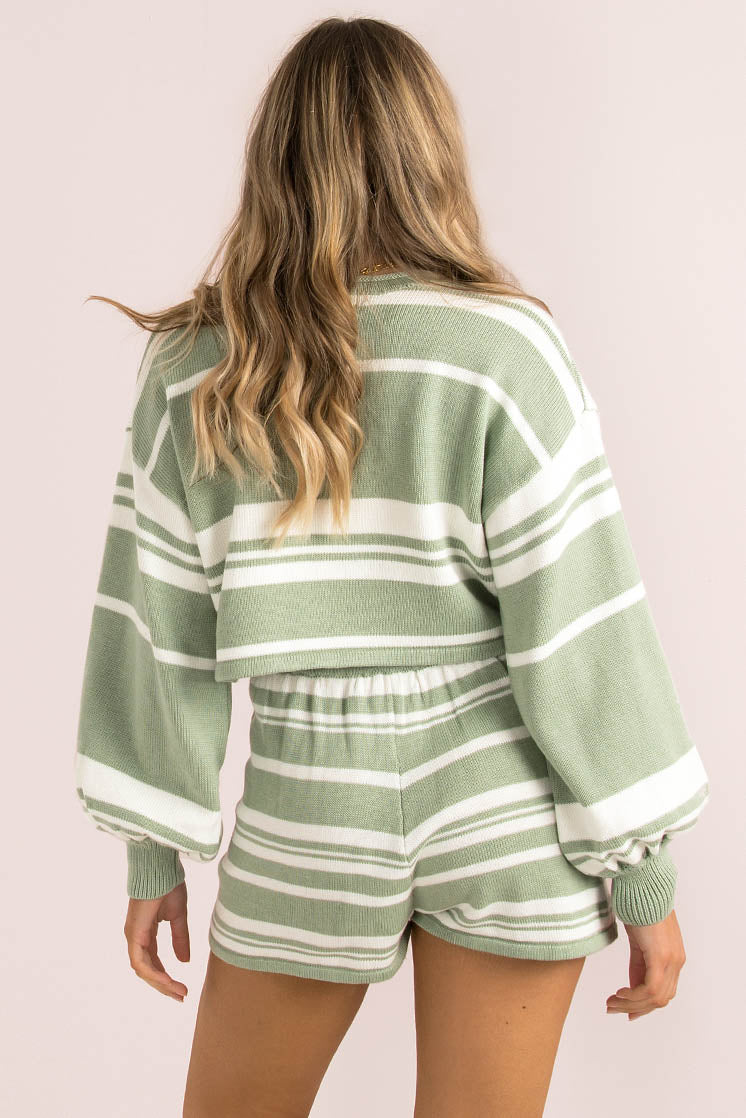 Mimi Top / Sage Stripe