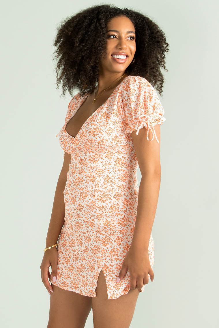 Annabel Dress / Orange Floral