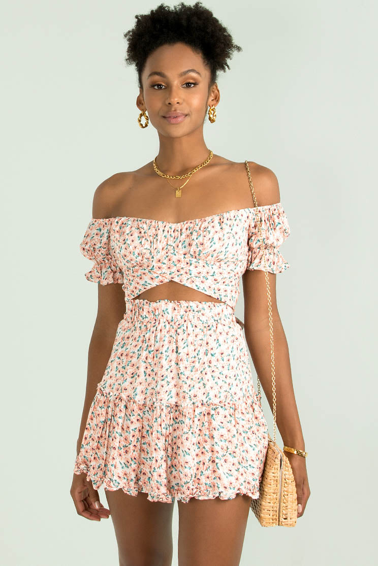 Connie Skirt / Pink Floral