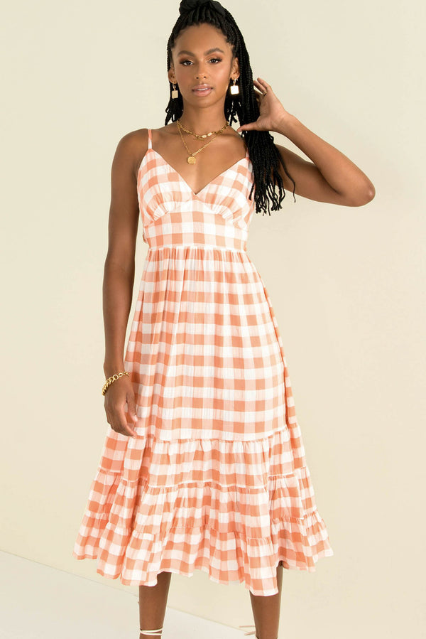 Brielle Dress / Peach Check