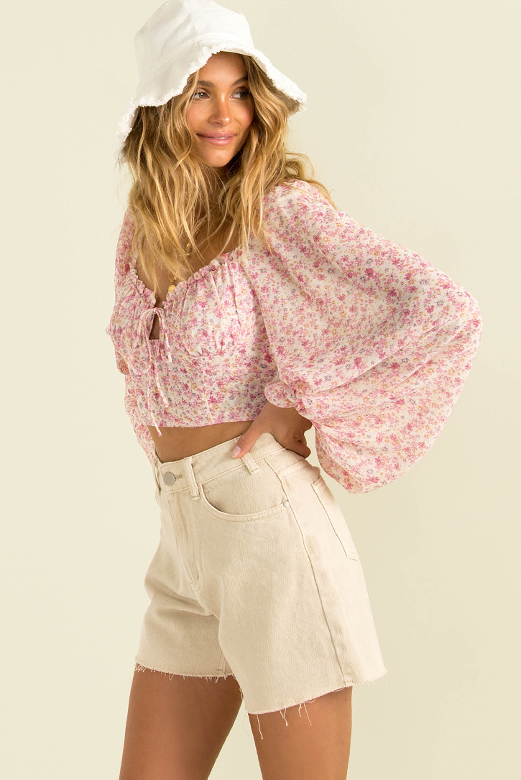 Paige Top / Pink Floral