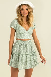 Evalee Skirt / Green Floral