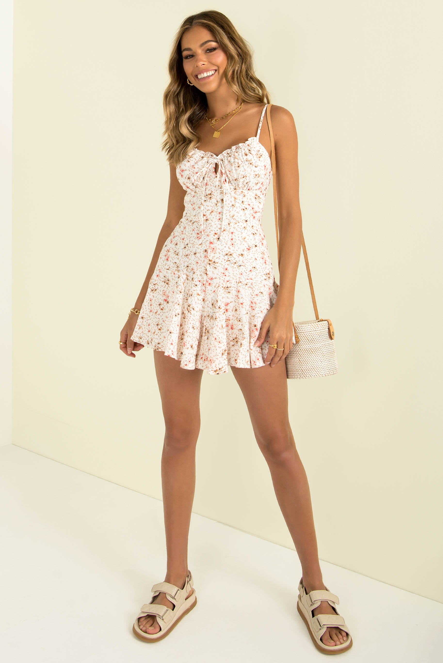 Olivia Playsuit / White Floral