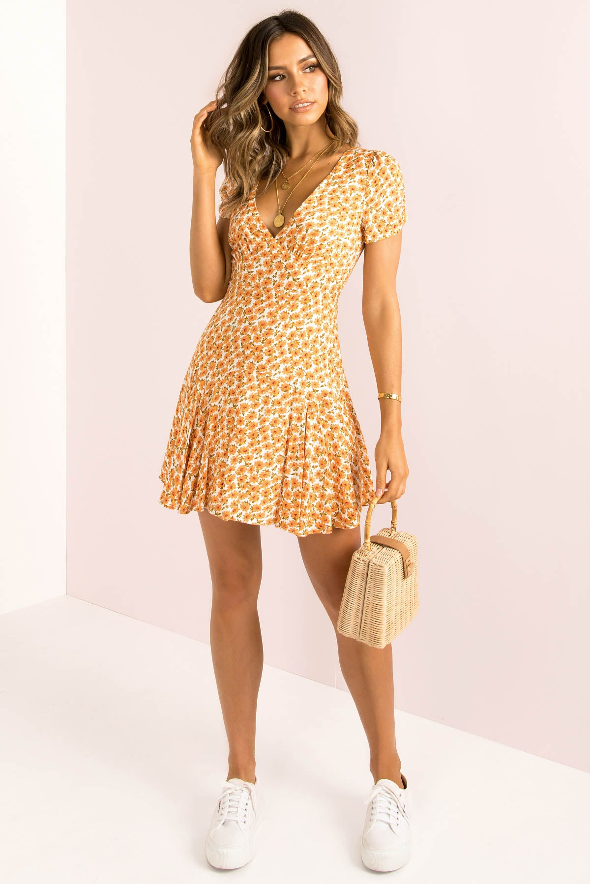 Gabriella Dress / Orange Floral