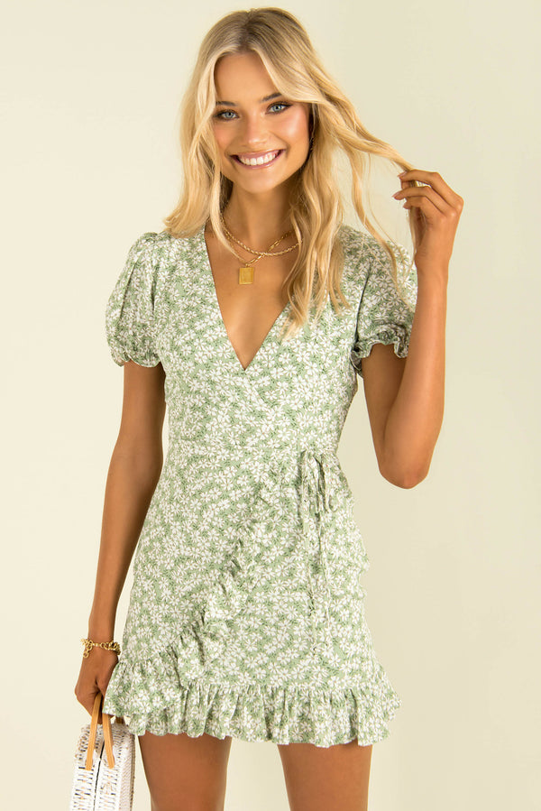 Adrianna Dress / Green Floral