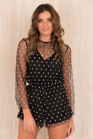 Pricilla Polka Dot Playsuit